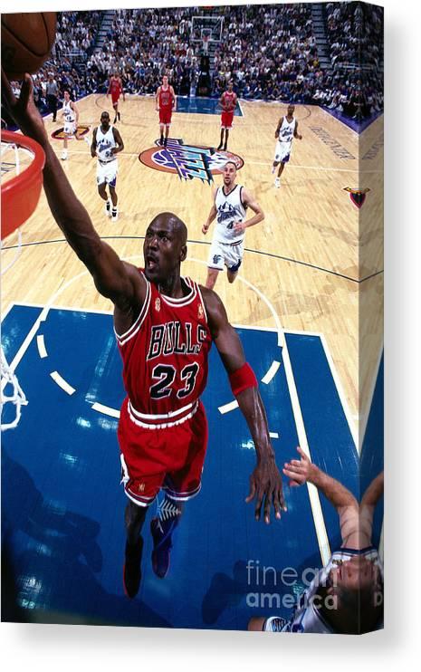 Chicago Bulls Canvas Print featuring the photograph Michael Jordan by Andrew D. Bernstein