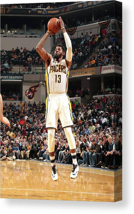 Nba Pro Basketball Canvas Print featuring the photograph Paul George by Ron Hoskins