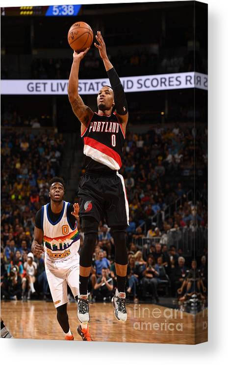 Nba Pro Basketball Canvas Print featuring the photograph Damian Lillard by Garrett Ellwood