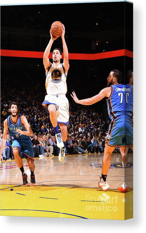 Nba Pro Basketball Canvas Print featuring the photograph Klay Thompson by Andrew D. Bernstein