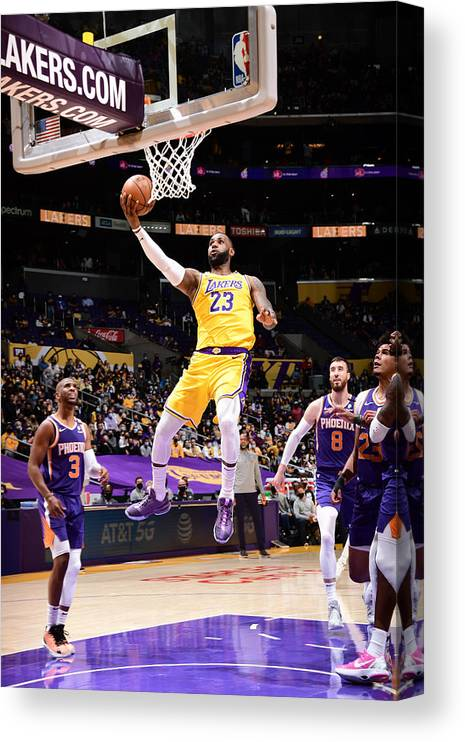 Playoffs Canvas Print featuring the photograph Lebron James by Adam Pantozzi