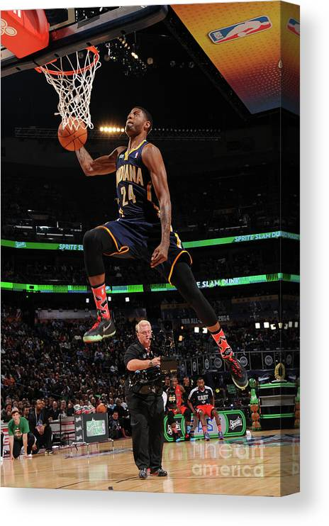 Smoothie King Center Canvas Print featuring the photograph Paul George by Andrew D. Bernstein