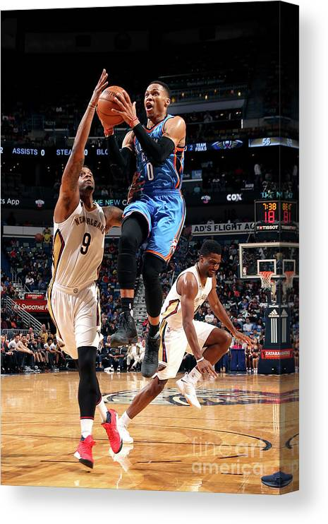 Smoothie King Center Canvas Print featuring the photograph Russell Westbrook by Layne Murdoch