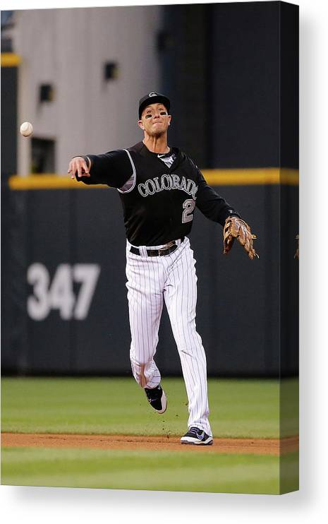 People Canvas Print featuring the photograph Troy Tulowitzki by Doug Pensinger