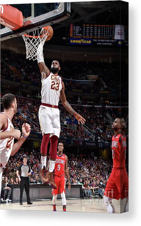 Sports Ball Canvas Print featuring the photograph Lebron James by David Liam Kyle
