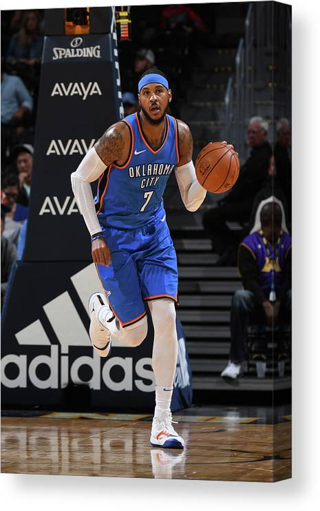 Nba Pro Basketball Canvas Print featuring the photograph Carmelo Anthony by Garrett Ellwood