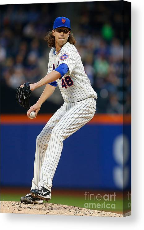 Jacob Degrom Canvas Print featuring the photograph Jacob Degrom by Mike Stobe