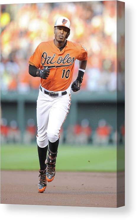 American League Baseball Canvas Print featuring the photograph Adam Jones by Greg Fiume