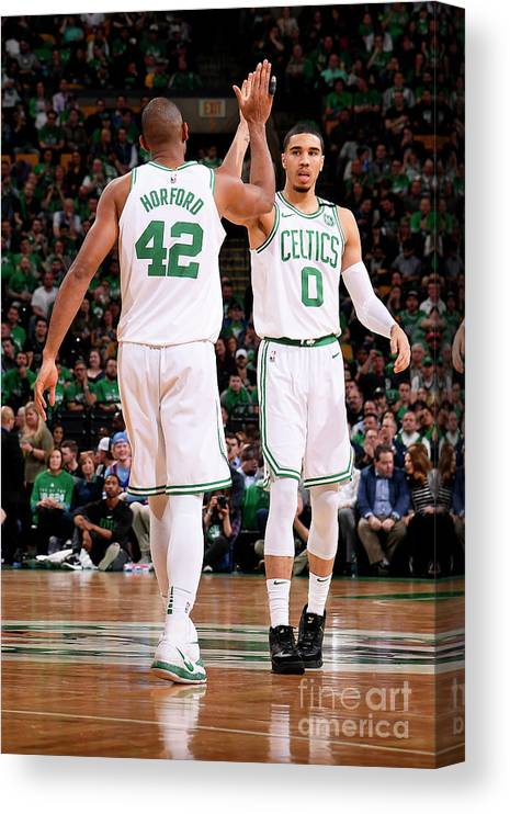 Playoffs Canvas Print featuring the photograph Al Horford and Jayson Tatum by Brian Babineau