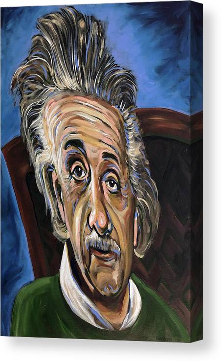 Albert Canvas Print featuring the painting Albert Einstein by Buffalo Bonker
