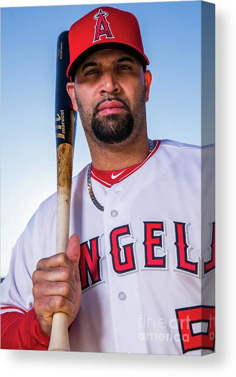 Media Day Canvas Print featuring the photograph Albert Pujols by Rob Tringali
