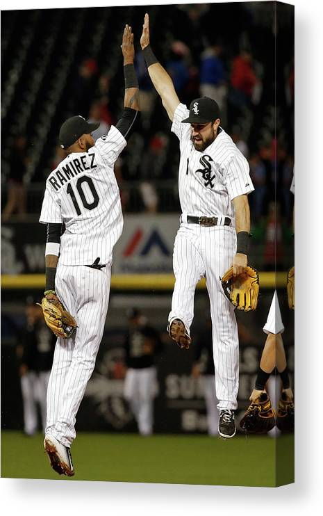 People Canvas Print featuring the photograph Alexei Ramirez and Adam Eaton by Jon Durr