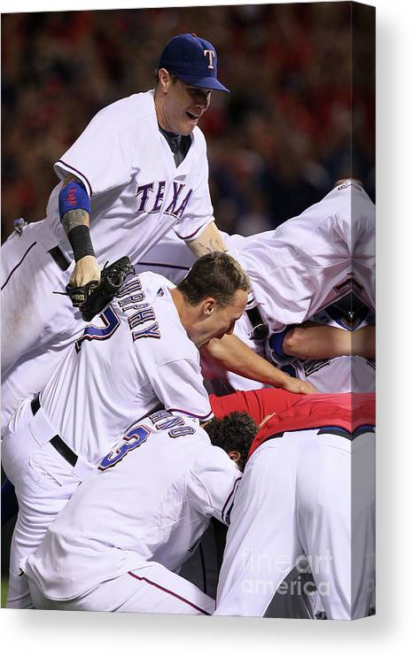 Playoffs Canvas Print featuring the photograph Andres Blanco, Josh Hamilton, and David Murphy by Stephen Dunn