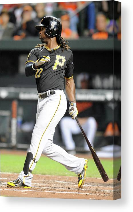 Game Two Canvas Print featuring the photograph Andrew Mccutchen by Mitchell Layton