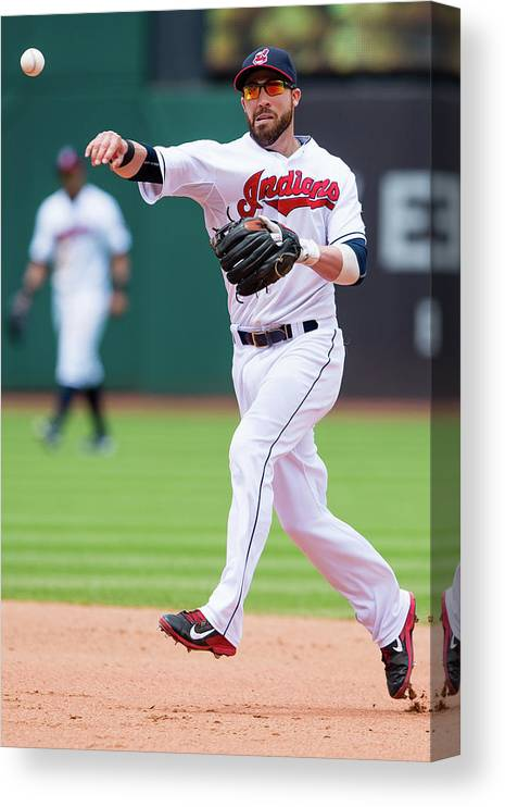 Andrew Romine Canvas Print featuring the photograph Andrew Romine and Jason Kipnis by Jason Miller
