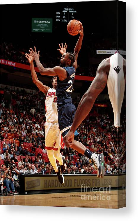 Nba Pro Basketball Canvas Print featuring the photograph Andrew Wiggins by Issac Baldizon