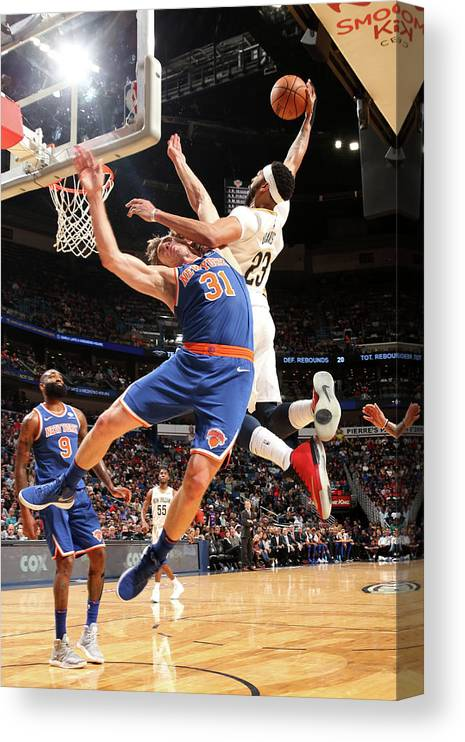 Smoothie King Center Canvas Print featuring the photograph Anthony Davis and Ron Baker by Layne Murdoch