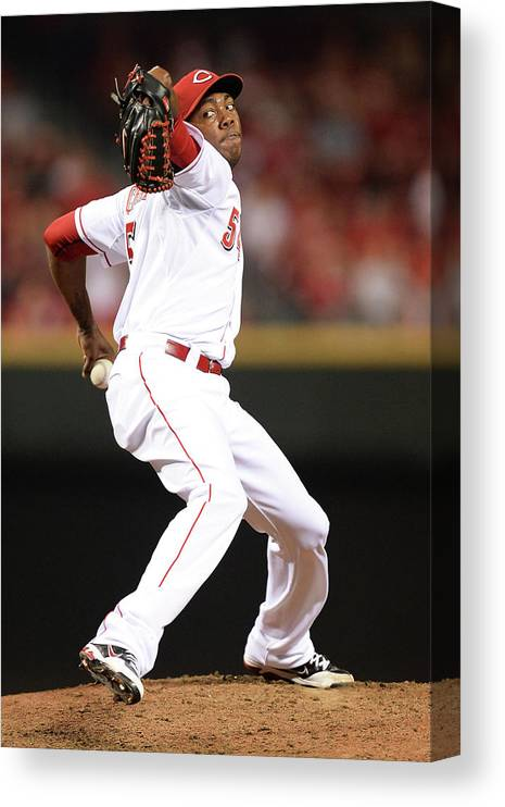 Great American Ball Park Canvas Print featuring the photograph Aroldis Chapman by Jamie Sabau