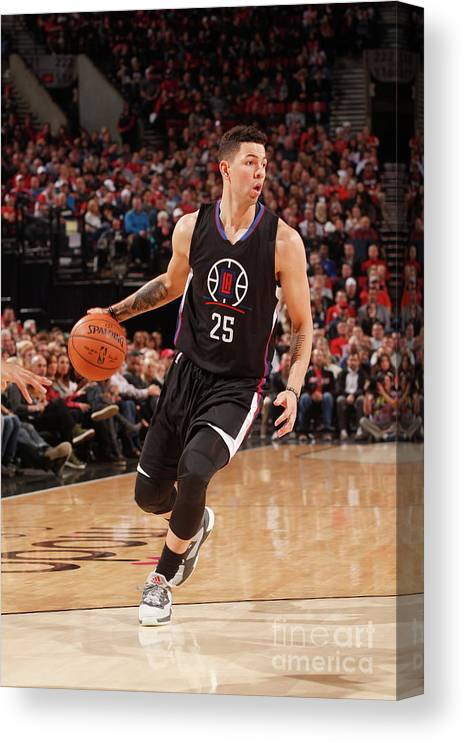 Nba Pro Basketball Canvas Print featuring the photograph Austin Rivers by Cameron Browne