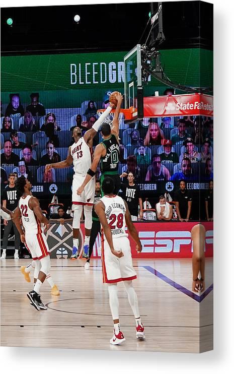 Playoffs Canvas Print featuring the photograph Bam Adebayo and Jayson Tatum by Jesse D. Garrabrant