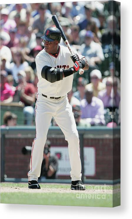 San Francisco Canvas Print featuring the photograph Barry Bonds by Jed Jacobsohn