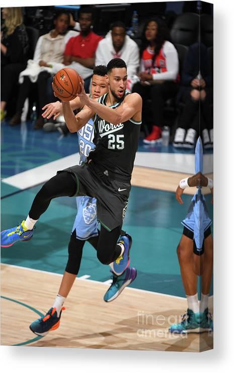 Nba Pro Basketball Canvas Print featuring the photograph Ben Simmons by Garrett Ellwood