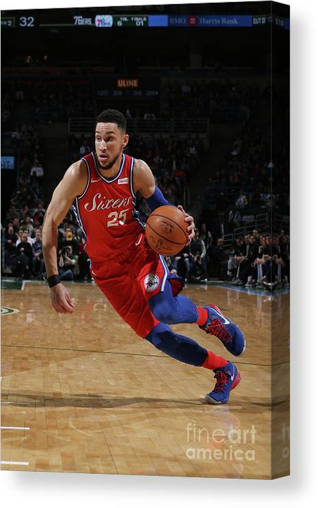 Nba Pro Basketball Canvas Print featuring the photograph Ben Simmons by Gary Dineen