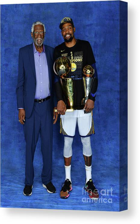 Playoffs Canvas Print featuring the photograph Bill Russell and Kevin Durant by Jesse D. Garrabrant
