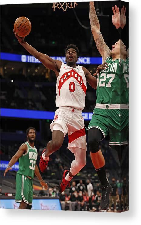 Nba Pro Basketball Canvas Print featuring the photograph Boston Celtics v Toronto Raptors by Scott Audette