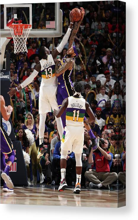 Smoothie King Center Canvas Print featuring the photograph Brandon Ingram and Cheick Diallo by Nathaniel S. Butler