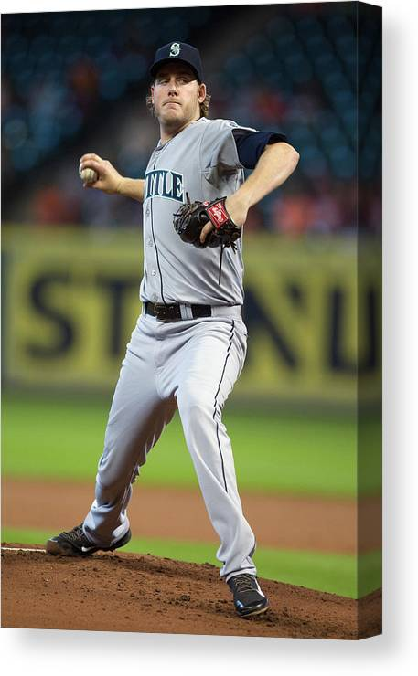 American League Baseball Canvas Print featuring the photograph Brandon Maurer by Bob Levey
