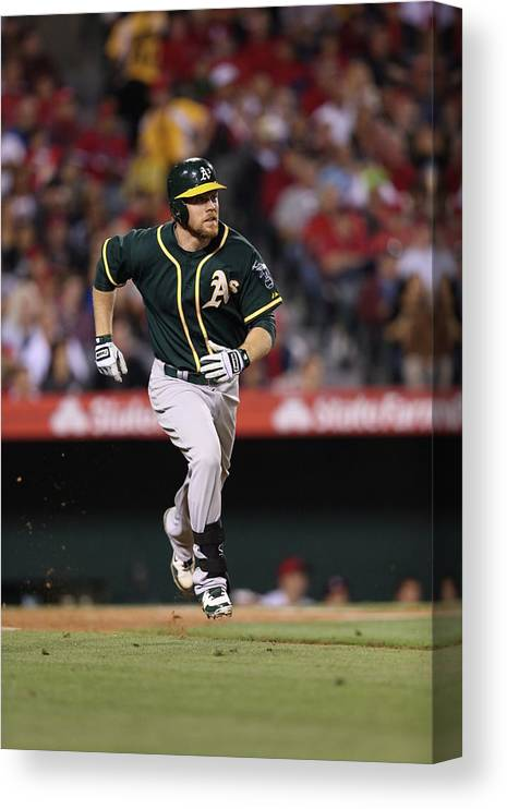 American League Baseball Canvas Print featuring the photograph Brandon Moss by Paul Spinelli
