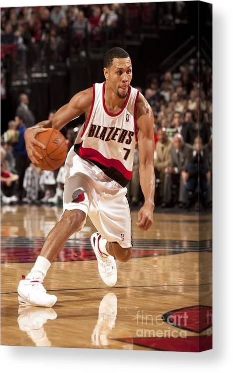 Nba Pro Basketball Canvas Print featuring the photograph Brandon Roy by Cameron Browne