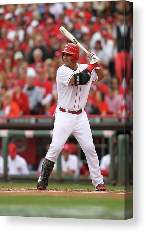 Great American Ball Park Canvas Print featuring the photograph Brayan Pena by John Grieshop