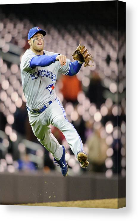 Game Two Canvas Print featuring the photograph Brett Lawrie by Hannah Foslien