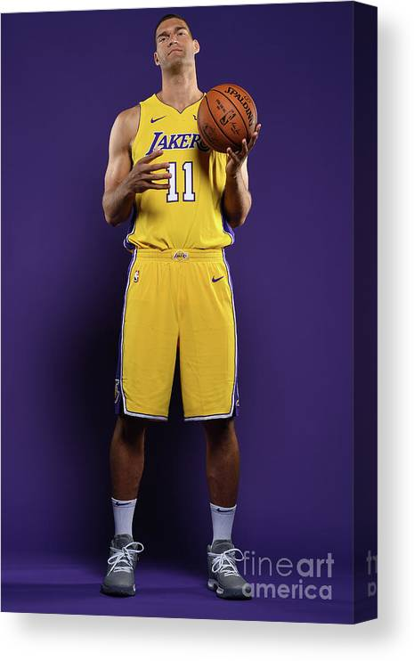 Media Day Canvas Print featuring the photograph Brook Lopez by Aaron Poole