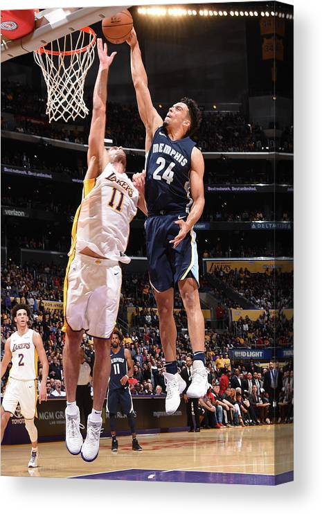 Nba Pro Basketball Canvas Print featuring the photograph Brook Lopez and Dillon Brooks by Andrew D. Bernstein