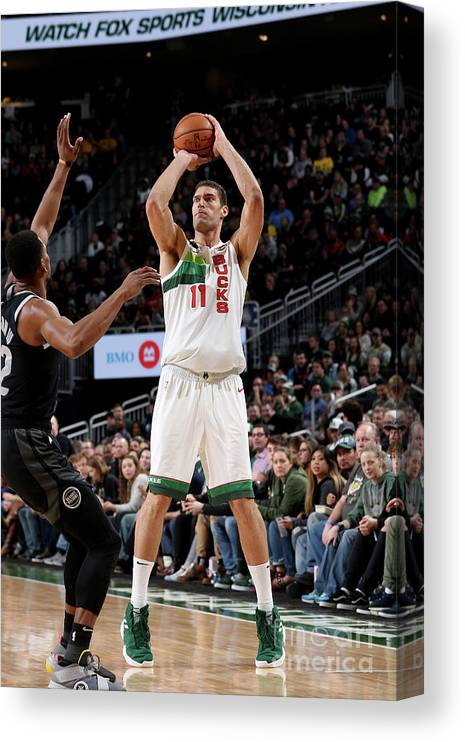Nba Pro Basketball Canvas Print featuring the photograph Brook Lopez by Gary Dineen