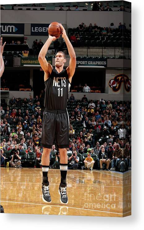 Nba Pro Basketball Canvas Print featuring the photograph Brook Lopez by Ron Hoskins