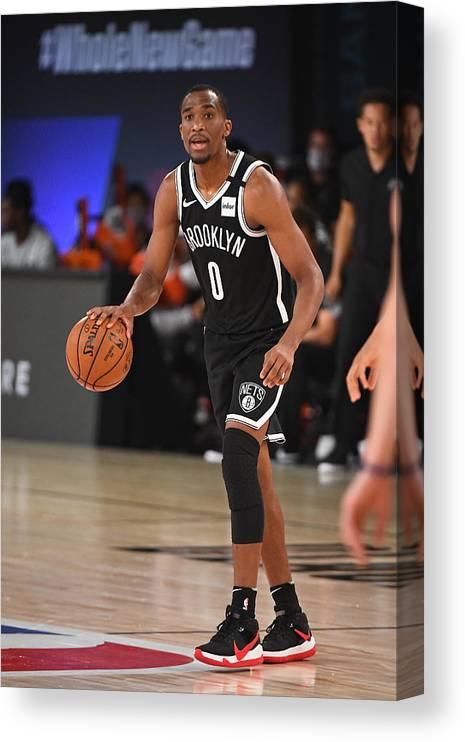 Nba Pro Basketball Canvas Print featuring the photograph Brooklyn Nets v San Antonio Spurs by Garrett Ellwood
