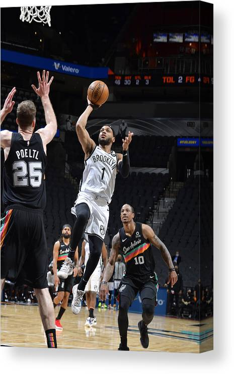 Nba Pro Basketball Canvas Print featuring the photograph Brooklyn Nets v San Antonio Spurs by Logan Riely