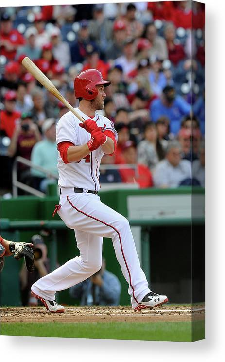 American League Baseball Canvas Print featuring the photograph Bryce Harper by Greg Fiume