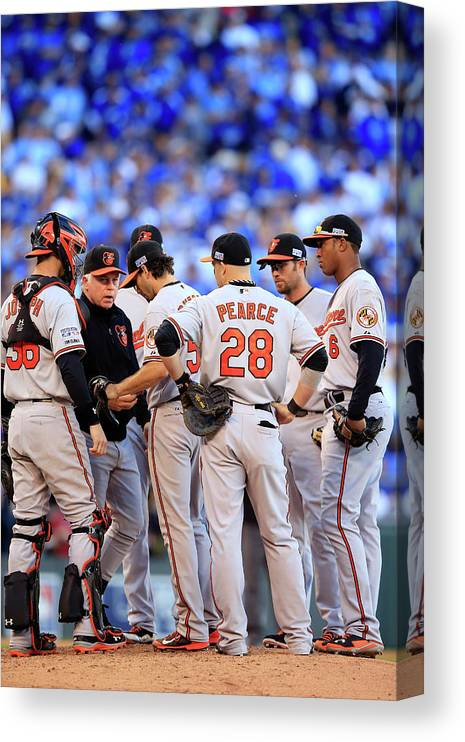 American League Baseball Canvas Print featuring the photograph Buck Showalter by Jamie Squire