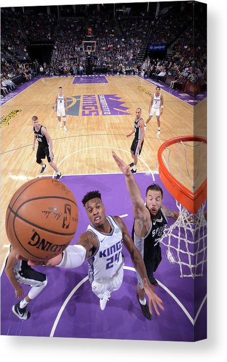 Nba Pro Basketball Canvas Print featuring the photograph Buddy Hield and Joffrey Lauvergne by Rocky Widner