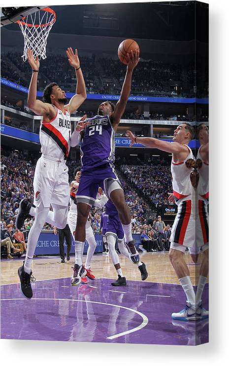 Nba Pro Basketball Canvas Print featuring the photograph Buddy Hield and Skal Labissiere by Rocky Widner