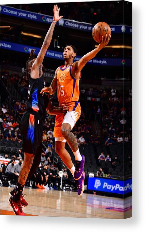Nba Pro Basketball Canvas Print featuring the photograph Cameron Payne by Barry Gossage