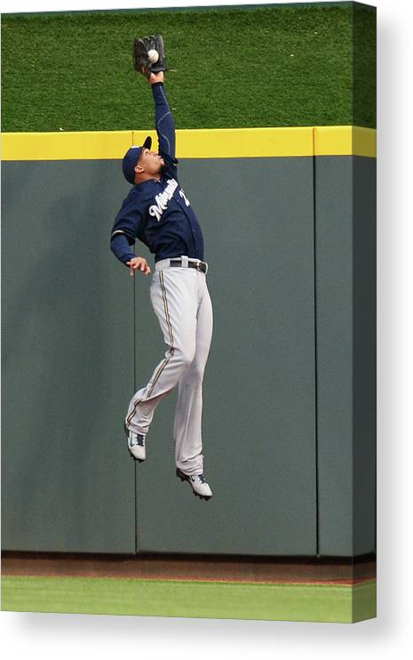 Great American Ball Park Canvas Print featuring the photograph Carlos Gomez and Joey Votto by Jamie Sabau