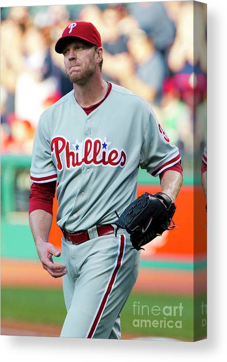 People Canvas Print featuring the photograph Carlos Santana and Roy Halladay by Jason Miller