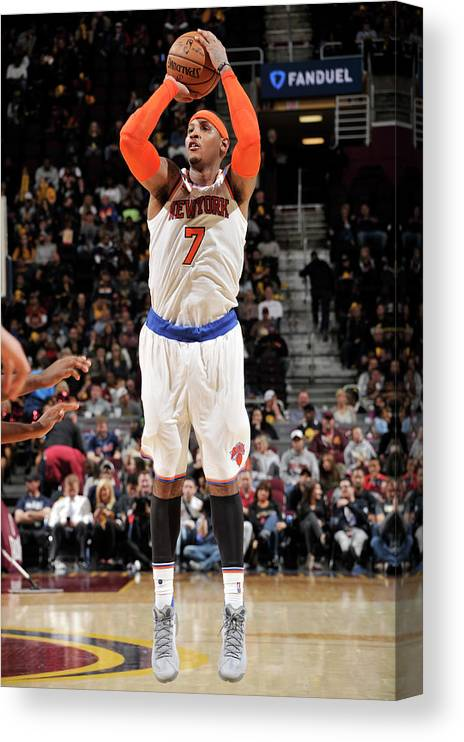 Number 7 Canvas Print featuring the photograph Carmelo Anthony by David Liam Kyle
