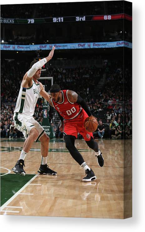 Nba Pro Basketball Canvas Print featuring the photograph Carmelo Anthony by Gary Dineen